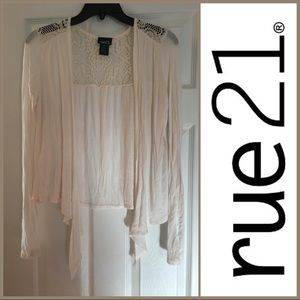 Rue 21 Cream Long Sleeve Cardigan